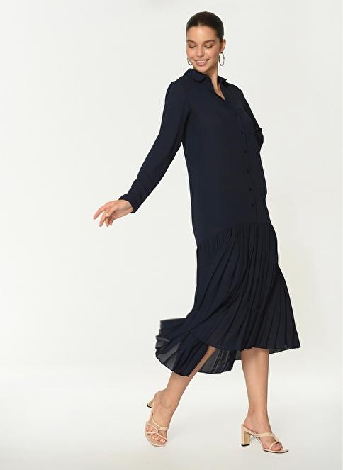 Loves You Uzun Kol Eteği Piliseli Şifon Elbise Lacivert